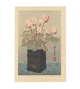 mokuchu urushibara, cyclamen, flower print