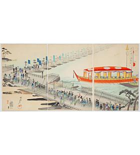 Chikanobu Yoshu, Pontoon Bridge at Matsudo, The Outer Palace of Chiyoda