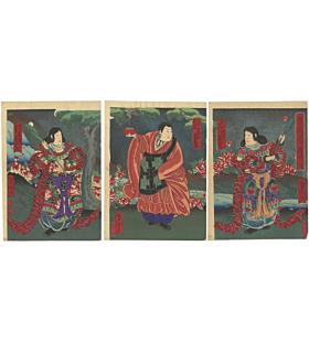 yoshitaki utagawa, kabuki actors, buddhist deities, japanese theatre, osaka-e
