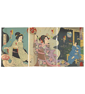 kokunimasa baido, kabuki theatre, peony lantern, ghost story, japanese theatre, kimono fashion