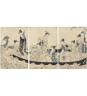 Eishi Chobunsai, Phoenix Boat, Beauties, Edo, japanese woodblock print, kimono