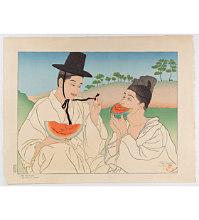 paul jacoulet, Les Pasteques. Jo-hoku-ri, Corée, watermelons, french artist, korea
