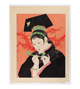 """paul jacoulet, Les Jades. """"Chinoise"""", jade accessories, china, french artist"""