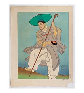 paul jacoulet, Le Bonze Errant. Corée, wandering buddhist priest, korea