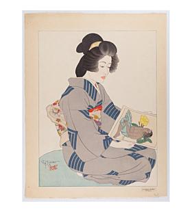 paul jacoulet, La Geisha Kiyoka, Tokyo, french artist