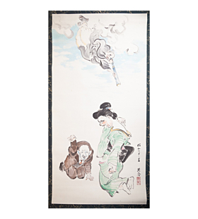 hanging scroll, painting, comical, showa era, handmade