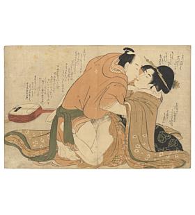 two lovers, shunga, erotic print, shamisen, original japanese woodblock print, japanese antique