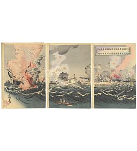 kokunimasa utagawa, war ships, sino-japanese war, japanese history, meiji period, japanese and chinese ships