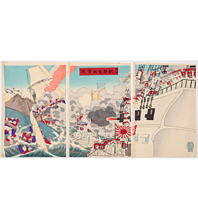 war print, senso-e, japanese history, japanese imperial army, meiji period, battle, battleship