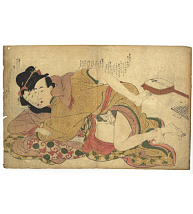 shunga, erotic print, erotica, couple making love, edo period, utamaro school