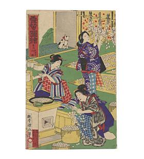 kunimasa baido, beauty, meiji, silk making, fabric, kimono, cocoon, silk worm