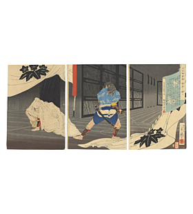 Toshihide Migita, The Tale of the Soga Brothers, Warrior, samurai, japanese woodlblock print