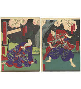 yoshitaki utagawa, cherry blossom tree, sakura, soga brothers, kabuki, theatre, japanese actors