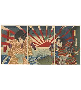 chikanobu yoshu, kabuki theatre, performance, sunrise, japanese actors, japanese armour