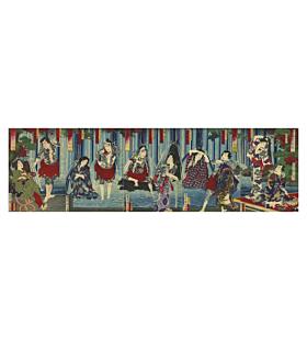 japanese woodblock print, tattoo design, irezumi, waterfall, kabuki, kunichika