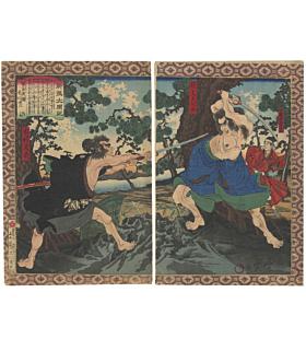 toyonobu utagawa, warriors fighting, samurai