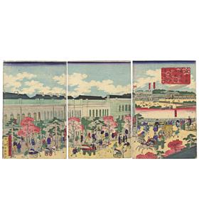 kuniteru utagawa, shimbashi station, meiji era, steam train, locomotive, travel