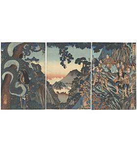 Yoshikazu Utagawa, monster, japanese woodblock print, japanese antique, samurai