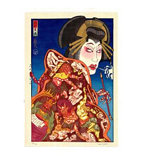 japanese woodblock print, contemporary art, hell courtesan, kimono, paul binnie