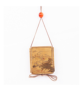 A four case inro decorated in gold lacquer ground, takamaki-e and hiramaki-e, with pavilions, pine trees, bridges, and boats in a tree-lined river scene. The inside compartments are covered with dense nashiji lacquer (fine gold flecks). With agate ojime b