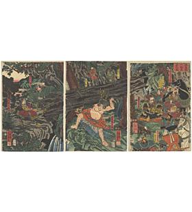 Yoshikazu Utagawa, Washio Saburo, Yoshitsune, Warriors, Minamoto, Kamakura, Triptych, Original Japanese woodblock print