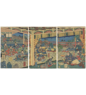 Yoshikazu Utagawa, Meeting Demons of Oeyama, Warrior, Legend, Triptych, Yokai, Original Japanese woodblock print