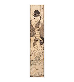 Eisho Chokosai, Hashira-e, Beauties and Shamisen, japanese woodblock print, kimono, japanese antique
