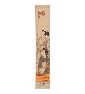Koryusai Isoda, Hashira-e, Monkey, japanese woodblock print, japanese antique, kimono
