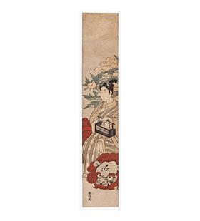 Harunobu Suzuki, Hashira-e, Monju Bosatsu, japanese woodblock print