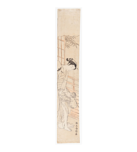 Harunobu Suzuki, Hashira-e, japanese woodblock print, pet monkey, japanese antique, bamboo