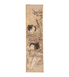 Koryusai Isoda, Hashira-e, Soga Brothers, japanese woodblock print, japanese antique