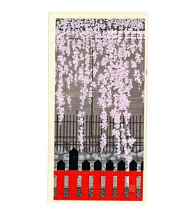 teruhide kato, contemporary art, japanese woodblock print, sakura, cherry blossom