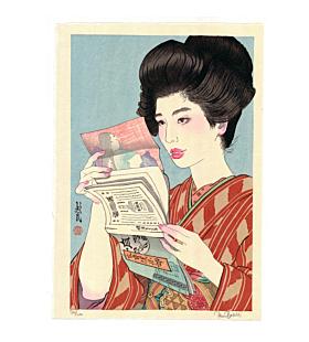 japanese woodblock print, contemporary art, portrait, hairstyle, paul binnie