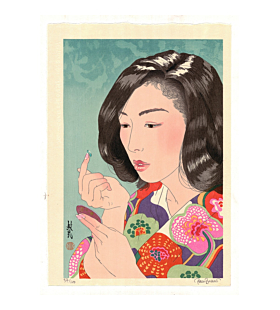 japanese woodblock print, contact lenses, contemporary art, paul binnie, portrait