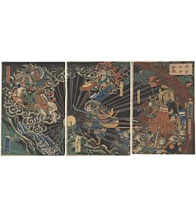Hideteru Utagawa, Kiso Mountain, samurai, japanese woodblock print, japanese antique
