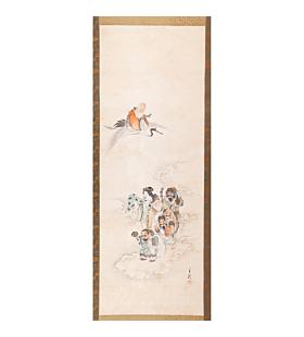 Gekko Ogata, Seven Lucky Gods, Hanging Scroll, Japanese antique, japanese folklore