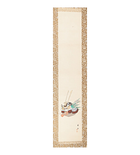 Shien, Kabuto, Japanese Helmet, Children's Day, Hanging Scroll, Japanese antique