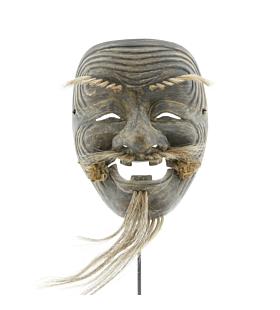 Okina, Noh Mask, Old Man, Kusumoto, Japanese antique, Japanese theatre