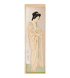 Goyo Hashiguchi, long undergarment, shin hanga, japanese beauty, japanese woodblock print, antique
