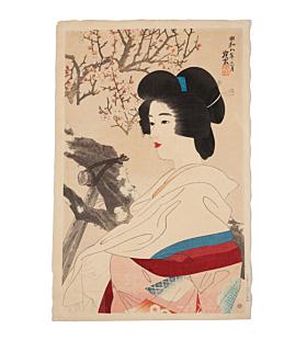 ito shinsui, red blossom, shin hanga, japanese plum, japanese woodblock print, antique, kimono