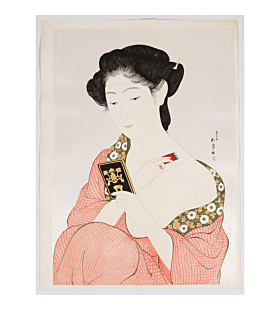 goyo hashiguchi, japanese make-up, japanese woodblock print, japanese beauty, antique, shin hanga