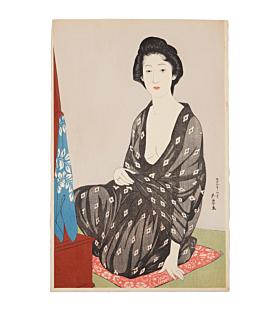 Goyo Hashiguhi, summer kimono, yukata, japanese woodblock print, japanese antique, shin hanga