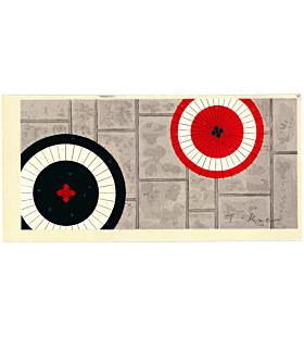 Teruhide Kato, Meeting Parasols, Contemporary Art, Travel, Traditional, Original Japanese woodblock print