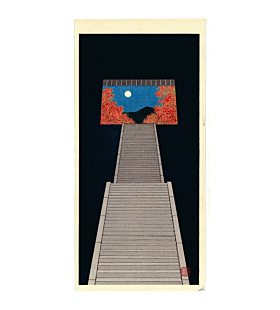 Teruhide Kato, Stairway to Autumn Moon, Fall, Night, Contemporary Art, Travel, Original Japanese woodblock print