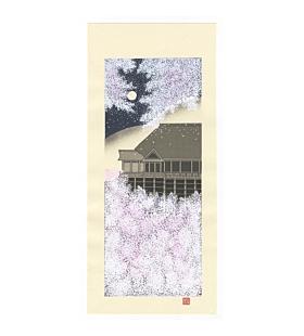Teruhide Kato, Kiyomizu-dera, Cherry Blossoms, Sakura, Kyoto, Travel, Temple, Contemporary Art, Original Japanese woodblock print