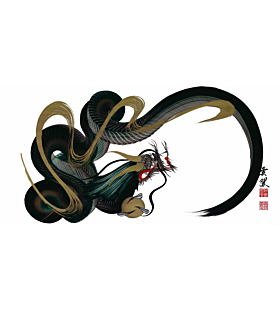 Tetsuya Abe, Green and Gold Dragon, One Stroke, Contemporary Art, Original Japanese ink painting