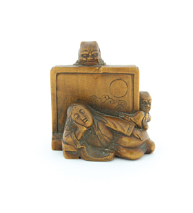 Wooden Netsuke, Sleeping Lady Watched by Demons, Carving, Figurine, Original Japanese antique