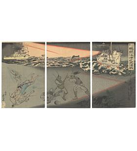 Toshimitsu Shinsai, Battle of Yalu River, War Print, Japanese woodblock print, japanese antique