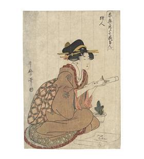 utamaro kitagawa, beauty, calligraphy