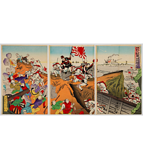 kokunimasa utagawa, war print, senso-e, japanese history, battle, imperial army, meiji period